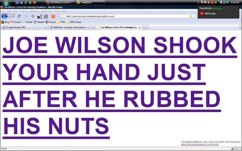 Joe Wilson Preexisting Condition
