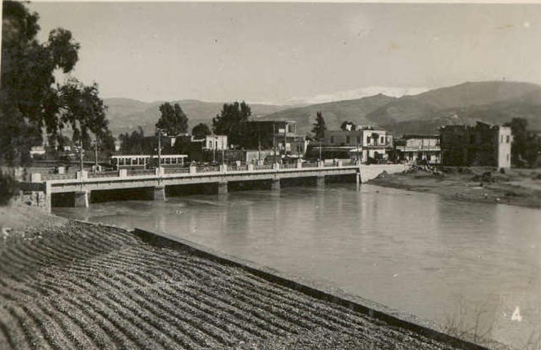 Tram crossing the bridge & heading to Gemmayzeh from Bourj Hammoud [1942]