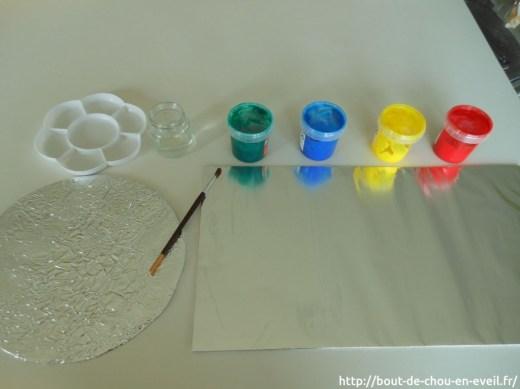 Activité peinture libre sur papier aluminium