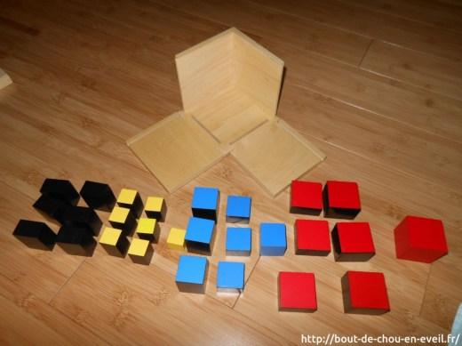 Activités Montessori cube du trinome