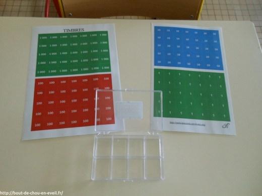 Matériel Montessori en maths les timbres