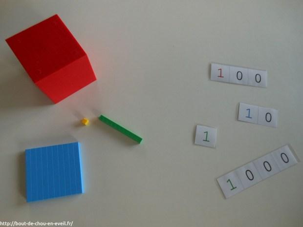 Activité Montessori sur les nombres