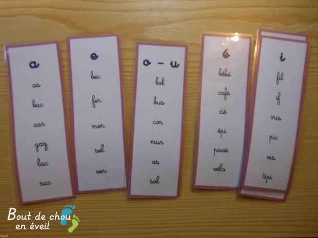 Activités Montessori série rose lecture