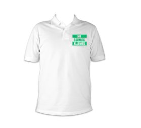 no squares polo white and green