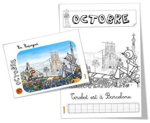 Coloriage Tirobot en Espagne octobre BDG