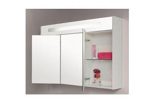 armoire a glace avec eclairage integre blanc brillant et 3 portes 1200x750x188 mm