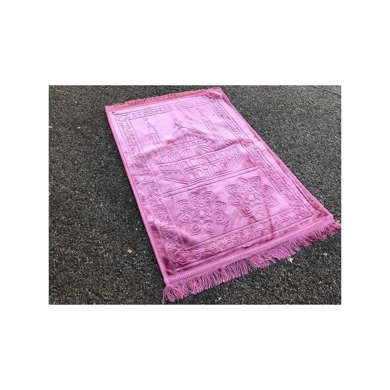 grand tapis de priere uni tres epais antiderapant rose boutique salam