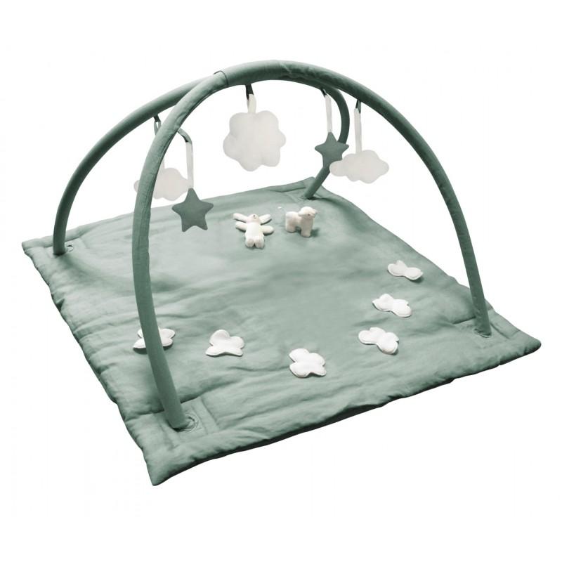 tapis d eveil musical carre en lin celadon mouton lapin 90 cm trousselier