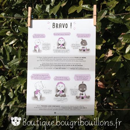 Bravo ou les compliments descriptifs et évalutatifs - Affiche imprimée Bougribouillons Petite enfance