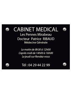 plaque professionnelle 20x30mm standard fond noir brillant ecriture blanc ep 1 6 mm
