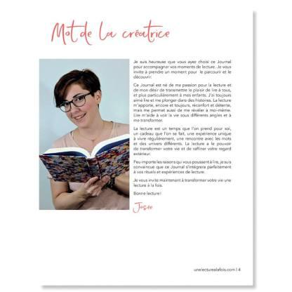 Mot de présentation de la créatrice du Journal de lecture-Josée Tardif
