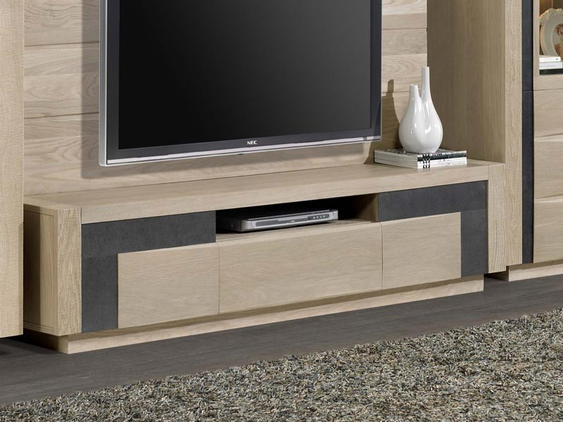 meuble tv etoile en chene 2 porte 1