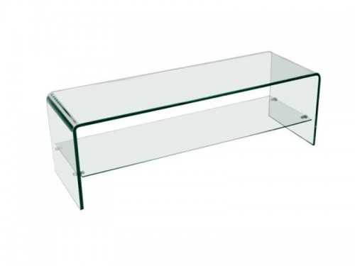 banc tv en verre trempe transparent