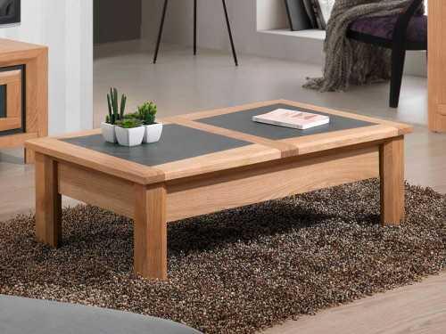 table de salon parme avec plateau bois