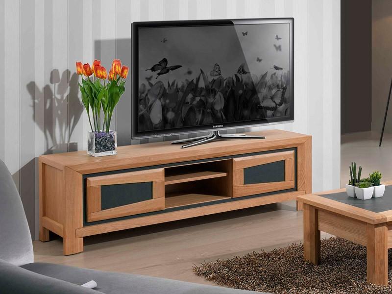 meuble tv 2 portes en chene parme avec