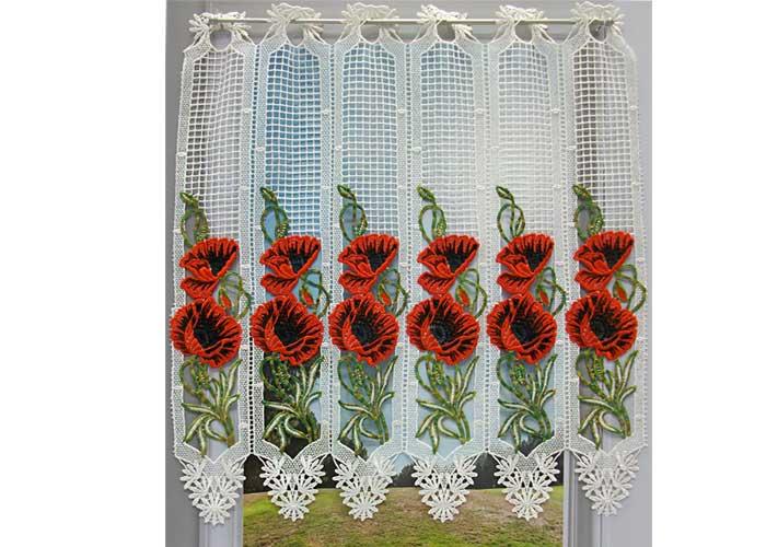 petit rideau cantonniere macrame ecru pavot coquelicot rouge