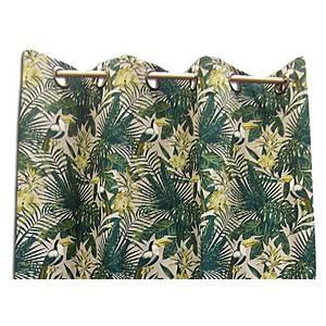 rideau vert ambiance tropicale motif toucan