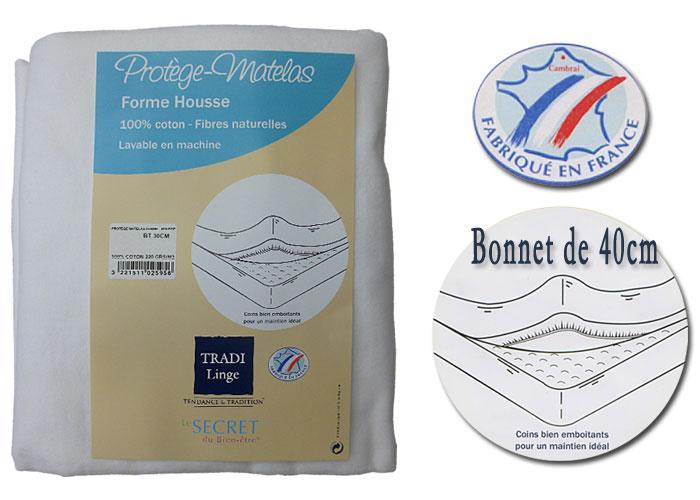 protege matelas molletonne forme housse bonnet de 40 cm