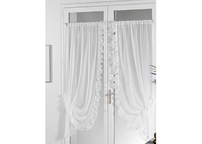 paire de rideaux bonne femme voile blanc avec passe tringle