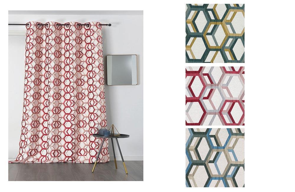 details sur rideau alanis polyester 135x250 pret a poser oeillets ronds