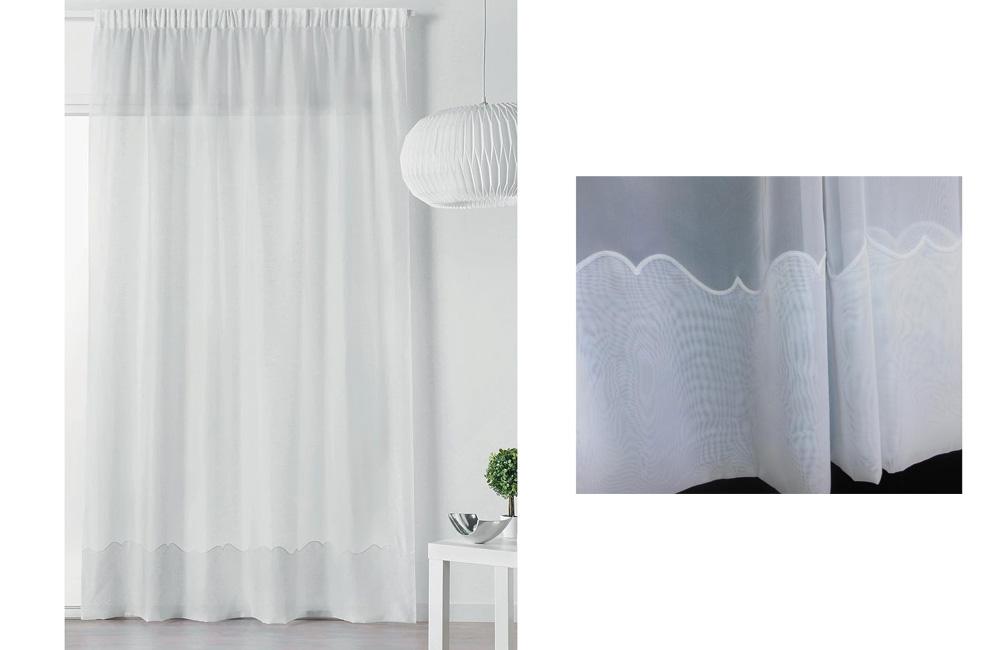details sur voilage cornely blanc 420x240 a galon fronceur special baie vitree