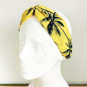 Bandeau cheveux jaune, motif tropical