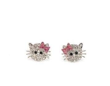 Boucles d'oreilles Hello Kitty plaqué argent