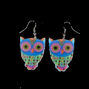 Boucles d'oreilles hibou -Tons bleu