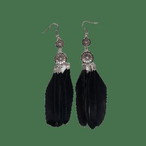 Boucles d'oreilles triple plumes noires