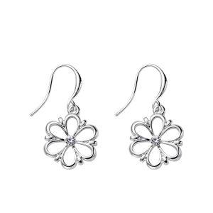 Boucles d'oreilles fleur argentée