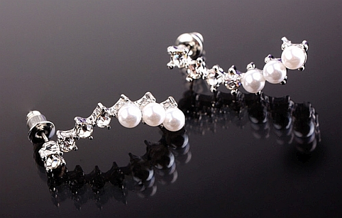 Boucles d'oreilles strass et perles autre