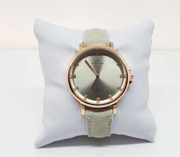 Montre métal bracelet simili cuir lin
