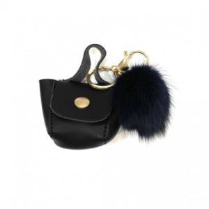 Porte clé bijou de sac pompon noir