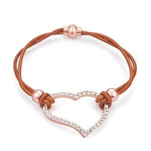 Bracelet Coeur strass en cuir couleur Marron clair