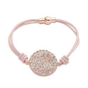 Bracelet Disque Strass en cuir Rose gold mat
