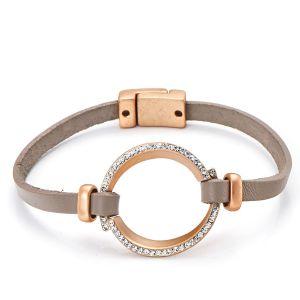 Bracelet cuir taupe or mat