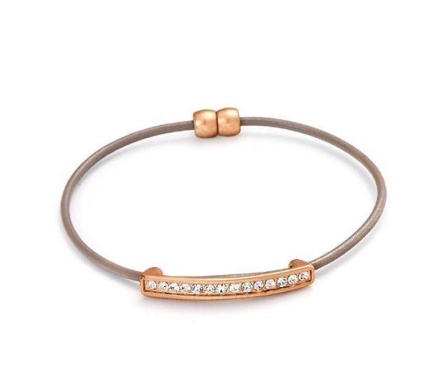 Bracelet cuir véritable taupe or mat