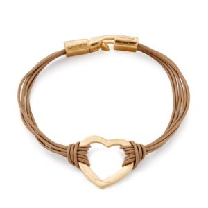 Bracelet fin cuir kaki coeur doré mat