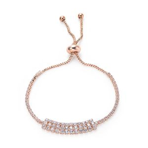 Bracelet rangées de strass - Rose gold
