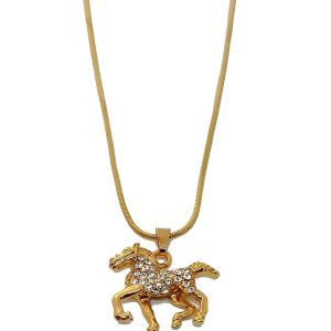Chaîne dorée avec pendentif cheval