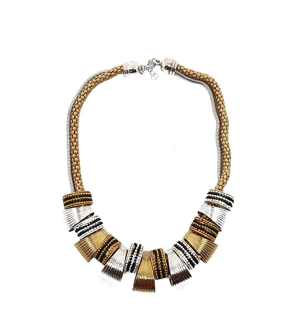21e04d95cab3a Collier duo argent et doré sur doubles chaines - Bijoux Fantaisie Femme