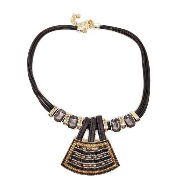 Collier perles noires et or