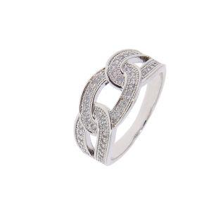 Bague argentée anneaux entrelacés