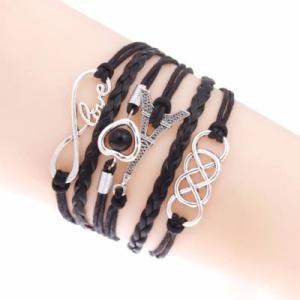Bracelet Noir Love Tour Eiffel