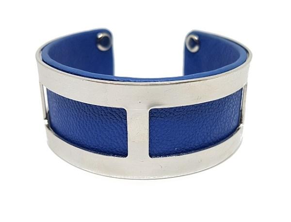 Manchette rectangles simili cuir bleu royal