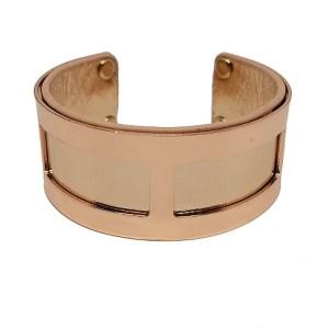 Manchette rectangles simili cuir cuivre