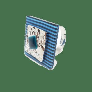 Bague réglable à rayures bleues