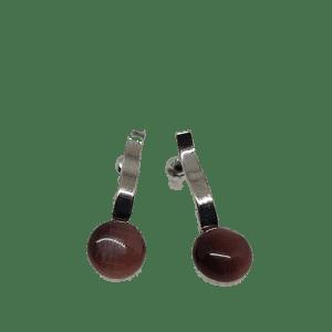 Boucles d'oreilles fantaisie en métal et verre œil de chat