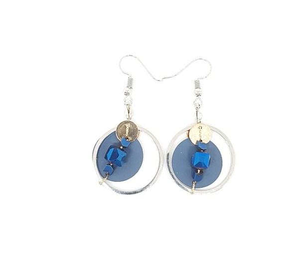 Boucles d'oreilles pastille métal bleu