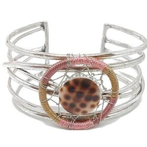 Bracelet manchette ouverte attrape-rêves Couleur rose